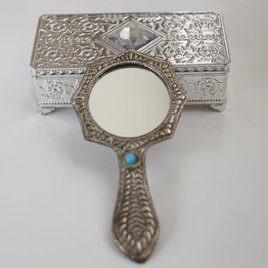 NWT Metal carved hand mirror and silver carved box